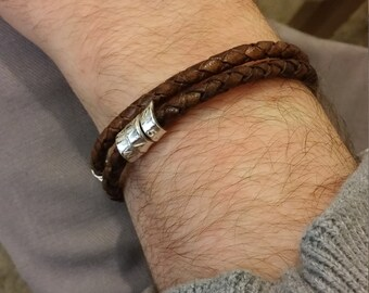 Custom Made Leather Bracelet  Braided Father's Day Gift Personalized Braided Leather Coordinates Braided Bracelet Mens Leather Bracelet