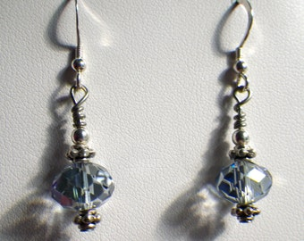 Clear Crystal AB Sterling Silver Dangle Earrings