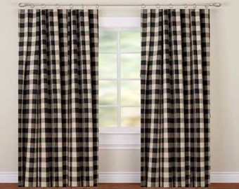 STORE WIDE SALE Buffalo Check From Small Window Curtains Through 2 Story  Extra Long Drapes Choose