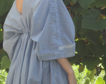 HAND-DYED: light butterfly dress, herbal dyed in indigo or other vegan color, hand-made from organic cotton