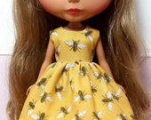 RESERVED for Colleen...BLYTHE doll Its my party dress - bees on dark gold