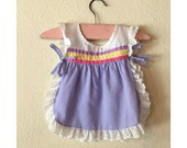 1980s Purple Polka Dotted Summer Set, Size 24 Months, Lace Trim, Summer Outfit, Vintage Baby