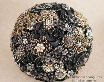 Brooch bouquet. Black and Gold wedding brooch bouquet, Jeweled Bouquet. Made upon request