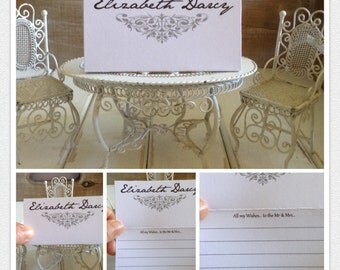 Wedding Wishing Well Cards Place Cards Guest Book Alternative - 100 Guest Name &  Wishes Cards