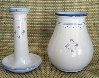 French Ceramic Candlestick and Matching Flower Vase
