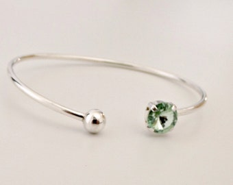 Dainty bangle, dainty bracelet, crystal bangle, bridesmaid bracelet, silver bangle, gift for her, girlfriend gift, dainty silver bangle
