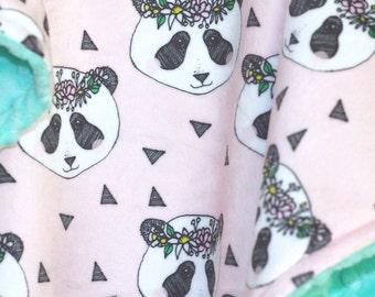 Panda Baby Blanket-Baby Girl Blanket-Baby Girl-Panda Pink Flower-Minky Baby Blanket-Double Minky