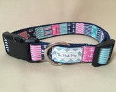 "Handmade Preppy Sailor Girl 1"" Adjustable Dog Collar - MEDIUM"