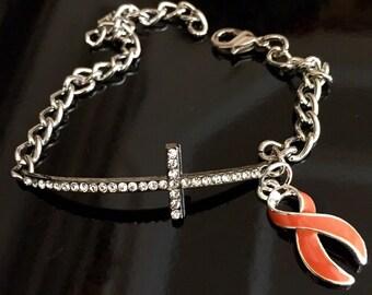 Orange Ribbon / Delicate Crystal Sideway Cross / Kidney Cancer / Leukemia / Multiple Sclerosis Awareness / Survivor Jewelry
