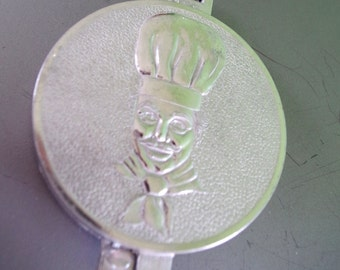 Vintage Aluminum Hamburger Press with Embossed Chef Head