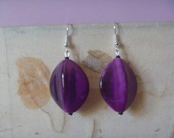shiny purple earrings, ecofriendly dangle earrings