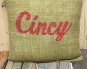 Cincy burlap pillow