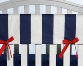 Crib Rail Cover in navy and white stripes, choice of tie color- Girl, nursery, modern, lavender linens