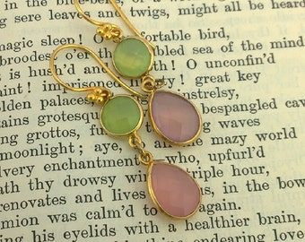Lily Pulitzer: Creamy Pink and Green Chalcedony earrings