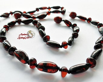 """SALE->Pure Set of Baltic Amber Necklace 12.5""""-13.0"""" and Bracelet / Anklet 5.5""""-5.9"""" - Cherry Amber Beads - Screw Clasp, 20R"""
