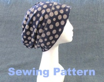 women men slouchy slouch summer jersey beanie hat sewing pattern, 11 sizes, head circumference range: 20 7/8 - 24 7/8 inches/53 - 63 cm
