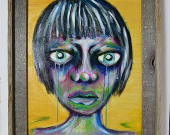 Original Art Canvas Painting, Acrylic, Sad Girls Series, Framed, Bold Portrait, Colorful Face, Barnwood Frame, Signed by Artist