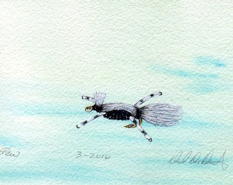 Fishing and Fly Tying Art - Original Art - Watercolor - Skunk - Made in Michigan - Michigan Artist - Fly Fishing - Black Frame - Gift - Him
