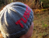 Gray Hand Knit Tuscarora Hat Beanie with Pink Lettering
