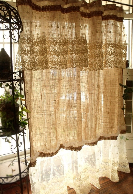 Layered shabby washed rustic chic burlap shower curtain lace for Cantonniere shabby chic