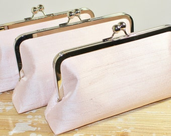 Silk Dupioni Clutch - Wedding Clutch - Bridesmaid Clutch - Blush, Ivory, Silver, Champagne Gold, White