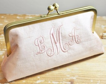 Monogrammed Silk Dupioni Clutch - Wedding Clutch - Bridesmaid Clutch - Blush, Ivory, Silver, Champagne Gold, White