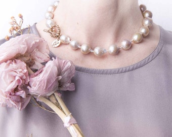 Statement baroque pearl necklace - rose shade - unique piece