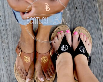 Ladies Monogrammed Sandals - Monogrammed Flip Flop - Monogrammed Slides - Bridal Party Gift