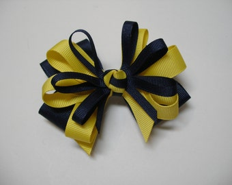 Navy Blue Hair Bow Basic Back to School Boutique