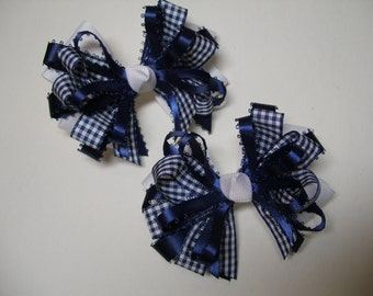 Navy Blue Gingham Check Hair Bows 4 inch Back to School Uniform Accessory Piggy Tail Set