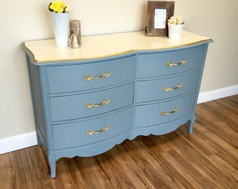 French Provincial Dresser - Light Blue Dresser - Unique Bedroom Furniture - Restored Furniture - Used Furniture NJ - Small Chest of Drawers