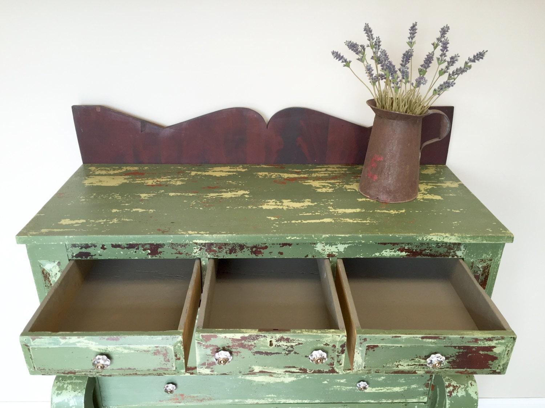 Green Dresser Antique Farmhouse American Empire Dresser Unique