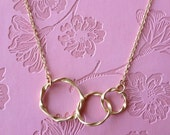 Triple Twisted Golden Ring Eternity Necklace Gold Circle Pendant Everyday Necklace Mothers Gift