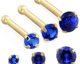 14K Gold Nose Bone with Round Sapphire