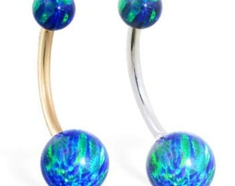 14K Gold Gorgeous Blue Green Opal Belly Ring