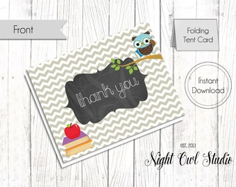 Thank You Card-Teacher Appreciation Card-School Owls-Printable-Thank You-Instant Download-PDF