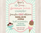 Ice Cream Party Invitation - PRINTABLE DIGITAL INVITATION