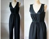 Sale Vintage Jumpsuit / Disco Jumpsuit / 1980's Jumpsuit / Little Black Jumper / Party Jumpsuit S/M