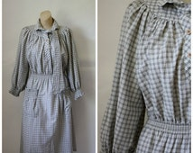 Sale Vintage Dress / 1970's Dress / Flannel Frock / Checkered Dress / Day Dress / Office Dress M/L