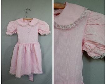 Sale Girls Party Dress / 1960's Dress / Pink Party Dress / Vintage Girls Dress / Flower Girl Dress / Birthday Dress 5/6X