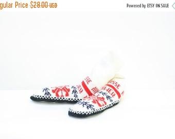Sale Vintage Slipper Socks / Nordic Nights Slippers / Vintage Socks / Vintage Suisse Slipper Socks / Winter Snowflake Socks W8