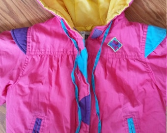 Pink 80s jacket little girls size 4t 5 6 awesome vintage kids clothing MINT neon hot pink yellow purple winter coat bright colorful cute