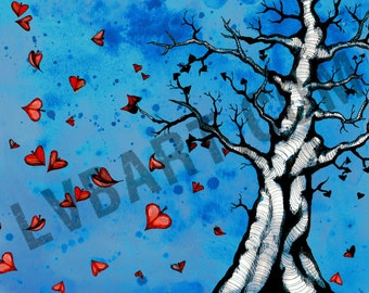 Heart Leaf Tree Pen Fine Art Print