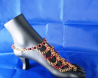 Chainmail Barefoot Sandals Brass & Aluminum