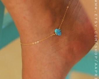 Opal hamsa anklet, Gold hamsa Bracelet, bridesmaid bracelet, beach anklet, blue /white/pink Opal Anklet,Hamsa Jewelry Opal Bridesmaid Gift