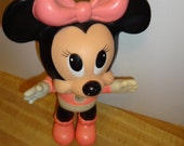 Vintage Minnie Mouse Disney Doll, Made in Mexico, Rubber,Hard Plastic Cartoon