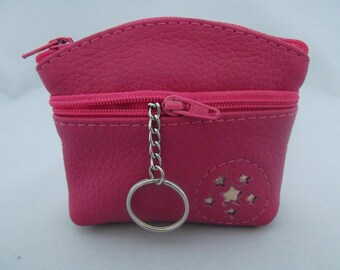 Pink Leather Coin Purse.