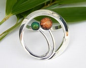 Scarf Ring - Copper and Green Dichroic Glass Scarf Clip - Art Deco Style Scarf Clasp