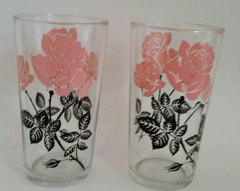 Vintage Pair of Retro Glassware/Barware/ Pink Roses with Black leaves and stems/ Set of 2
