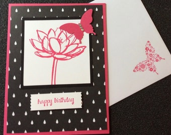 Birthday, Friend, Female, Flower, Butterfly, Handmade, stampin up